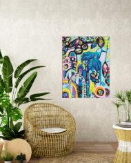 Tijuana-Hummingbird–tropical-room-cane-seat-blank-cream-textured-wall
