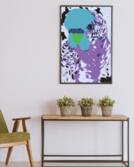cissy-and-flo-design-fluff-the-budgie-portrait-green-olive-chair-with-hall-stand-black-portrait-frame
