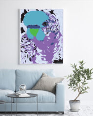 cissy-and-flo-design-fluff-the-budgie-portrait-light-blue-couch-white-portrait-frame-on-white-wall