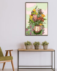 cissy-and-flo-design-still-life-1-green-olive-chair-with-hall-stand-black-portrait-frame