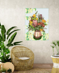 cissy-and-flo-design-still-life-2-tropical-room-cane-seat-blank-cream-textured-wall